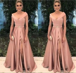 Low Priced Crystal Lighting NZ - Low Price Sexy Design A Line Evening Dresses Floor Length Satin High Split Prom Dresses With Beaded Crystal Evening Gowns robes de soirée