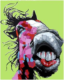 """$enCountryForm.capitalKeyWord Australia - Kits Paint DIY Painting By Numbers Oil Paint Adult Hand Painted-Big mouth horse 16""""x20"""""""