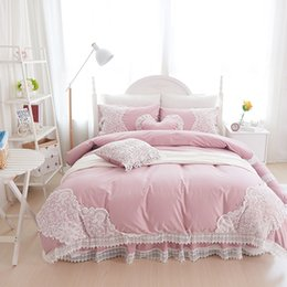 Queen Size Princess Bedding Australia - 100% Cotton Soft Bedclothes Princess style Lace Bedding Set King Queen Twin Size Girls Bed skirt Duvet cover Pillowcases