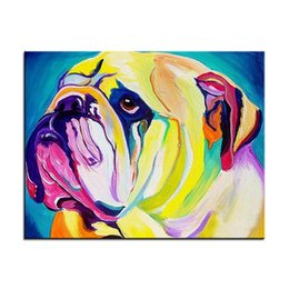 Modern Abstract Framed Art Australia - High Quality Handpainted & HD Print Modern Abstract Pop Animal Art Oil Painting bulldog On Canvas Home Decor Wall Art Frame Options A190