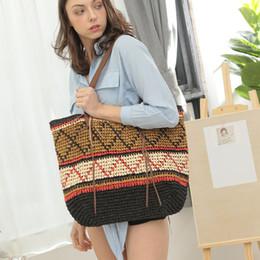 Summer Ladies Handbag Australia - hot selling designer handmade summer casual ladies straw tote shoulder large shopping bag women crocheted woven braided beach handbags