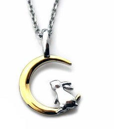 rabbit moon charms NZ - Necklace ARPSS163-steel+14k gold New 316L rabbit on moon pendant adjustable size chain unisex daily wear prefect gift couple jewelry