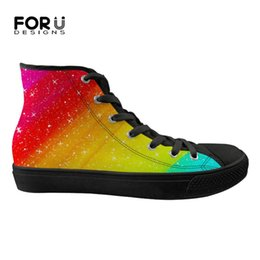 41d37d1aa8c8e4 FORUDESIGNS Rainbow Color Canvas Women Flats Shoes High Top Vulcanized Shoes  for Ladies Casual Sneakers Woman Spring Lady