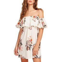 5f461ef3789e ISHOWTIENDA 2019 Spring Fashion Dress Women Fashion Off Shoulder Strapless  Short Sleeve Printing Loose Mini Dress Drop Shipping