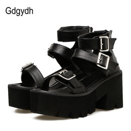 unique sandals shoes NZ - Gdgydh Ankle Strap Summer Fashion Women Sandals Open Toe Platform Shoes High Thick Heels Female Black Unique Party Shoes 35-40 MX200407