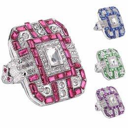 $enCountryForm.capitalKeyWord Australia - Glitter Rectangle Full Rhinestone Inlaid Finger Ring Women Wedding Jewelry Gift