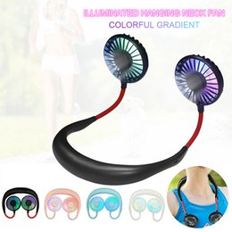 $enCountryForm.capitalKeyWord Australia - Mini USB Portable Fan Neck Fan Neckband With Rechargeable Battery Small Desk Fans handheld Air Cooler Conditioner for Ourdoor Home
