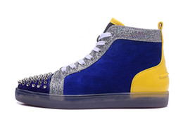 $enCountryForm.capitalKeyWord NZ - Cheap red bottom sneakers for men women with Spikes blue suede Luxury Designer mens shoes ,2017 new arrival men leisure trainers footwear