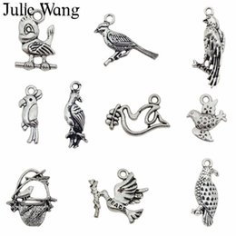 $enCountryForm.capitalKeyWord Australia - Julie Wang 10PCS Mixed Birds Charms Alloy Antique Bronze Silver Parrot Owl Pigeon Necklace Bracelet Jewelry Making Accessory