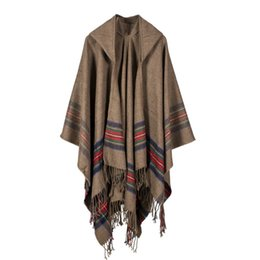 womens cashmere wraps NZ - Womens Thickened Colored Stripes Cashmere Jacquard Shawl Can Be Worn Warm Long Fashion Hooded Cape