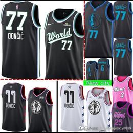 57fe5816a 77 Luka # Doncic Dallas New Mavericks Jersey Mens Mavericks Kristaps #6  Porzingis stitched Basketball Jerseys 2019 Black