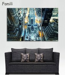 Custom Framed Canvas Prints Australia - 3 panel high quality New York City landscape Canvas Painting Large Wall Pictures For Living Room Custom no frame Direct Selling