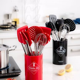 kitchen turners Australia - Stainless Steel+silicone Cooking Utensil Kitchen Tools Turner Soup Spoon Strainer Pasta Server Egg Beater Spatula Food Tongs Red