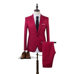 Discount korean fashion men suit coat - 2017 New Designs Coat Pant Suit Men Solid Color Wedding Tuxedos For Men Slim Fit Mens Suits Korean Fashion (Jackets+Pant