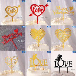 Wedding Anniversary Cupcakes Australia - New Happy Valentine's Day Cake Topper Love Heart Gold Acrylic Cupcake Topper For Wedding Valentine Anniversary Cake Decorations
