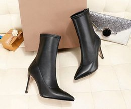 leather high NZ - Winter international big name designer plus velvet leather boots high quality party pointed warm high heel women's boots with high 9.5CM