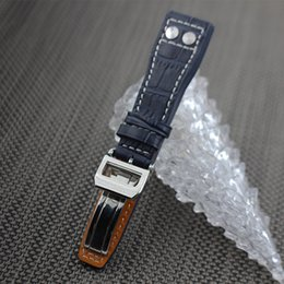 $enCountryForm.capitalKeyWord Australia - Watchband 22mm Black Black Blue Crocodile Lines Genuine Leather Watch Band Strap IWC