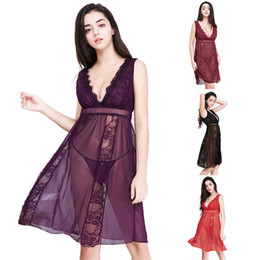 a96ac4bd65 4 colors sexy female lingerie lace gauzeChemise babydoll see-through  sleeveless nightgown dark V exposed breast skirt sleepwear nightdress