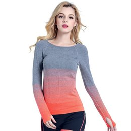 Professional Fitness T Shirts Australia - Women Professional Yoga Sport Gradient Color T Shirt Long Sleeves Hygroscopic QuickDry Fitness Elastic T-shirt Women Top Shirts