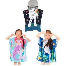 Wholesale Hooded Blankets Australia - Kids Mermaid Hooded Bathrobe Cartoon  Blanket Cotton Bath Robes Hooded Bathing 537e12a59
