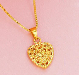 necklace for girlfriend christmas gift 2019 - Heart Pendant and Necklaces Romantic Jewelry Gold Color for Womens Girls Wedding Gift Girlfriend Wife Gifts discount nec