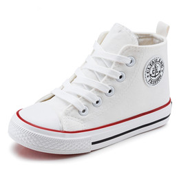 Wide Canvas Shoes Australia - Canvas Kids Shoes 2017 Spring Autumn High Top Breathable Children Sneakers Fashion Boys Girls Casual Shoes Chaussure Enfant Y190525