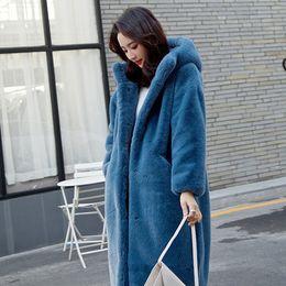 621d639d4 Winter New Fur Coat Female Imitation Mink Fur Thickening Hooded Loose Long  Plush Plus Size Imitation Fur Coat Women s Fashion Cute Special