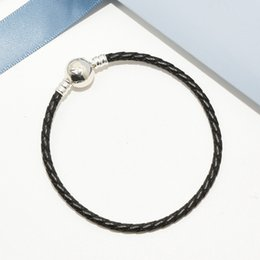 Wholesale Women Mens Black Leather Hand Chain Ball Clips Bracelet Logo Original box for Pandora Sterling Silver Charms Bracelet