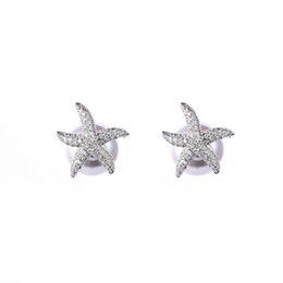 Earrings Korea Europe Australia - Europe and the United States new S925 sterling silver starfish pearl earrings women before and after Korea elegant fashion temperament high-