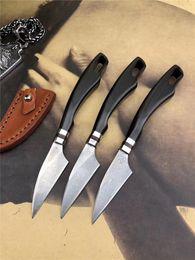 $enCountryForm.capitalKeyWord Australia - Drop Shipping Small Damascus Fixed Blade Kitchen Knife VG10 Damascus Steel Blade Ebony Handle Damascus Fruit Knives With Leather Sheath