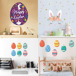 Wholesale Easter wall sticker For bedroom Baby room decoration cartoon Rabbit egg wall sticker PVC Stickers C6084