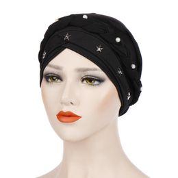 Braided Hair Wraps UK - Women Cross Silk Braid Pearl Star Turban Hat Cancer Chemo Beanie Cap Hijab Headwear Head Wrap Hair Accessories