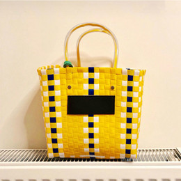 Hand Bag Green Color Australia - Ins Hot Summer Beach Basket Patchwork Striped Hand Knitted Color Casual Women Handbag Totes Trend Fashion Pvc Bag Y19061204