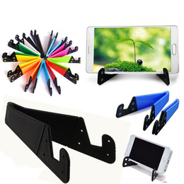 universal tablet pc holder NZ - Universal Foldable V Shaped Mobile kickstand Colorful Holder Portable Tablet PC Foldable Pad Phone Hands Holder with free shipping