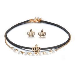 $enCountryForm.capitalKeyWord Australia - Classic Jewelry Sets Crown Necklace Earrings Set For Women Accessories Multilayer Chain Elegant Wedding Bridal Jewellery Gifts