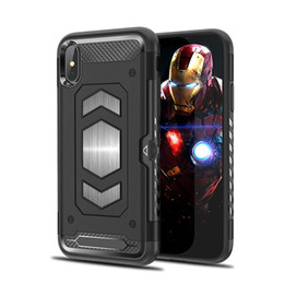 $enCountryForm.capitalKeyWord NZ - Heavy Duty Hybrid Armor Shockproof Case for iPhone X XS Max XR 7 8 6 6S Plus with Card holder Magnetic Car Mount