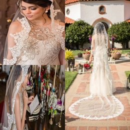 Cathedral Veils For Wedding Dresses Canada - 2019 Stunning Bridal Veils Custom Made Charming White Ivory Champagne Lace 2 Layers Wedding Veils With Applique Comb For Wedding Dress