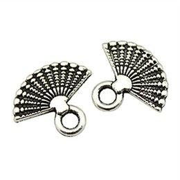 $enCountryForm.capitalKeyWord UK - 150pcs Charm Fan Fan Pendant Charms For Jewelry Making Antique Silver Fan Charms For Jewelry Making Accessories 12x14mm