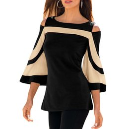7770a2eb0 Women's Sexy T-Shirt Off Shoulder Top Batwing Sleeve Casual Patchwork  T-Shirts Clothes Plus Sizes Poleras Mujer Show Slim
