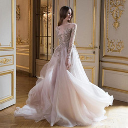 Winter t shirts long neck online shopping - 2020 Sexy Paolo Sebastian Prom Dresses With Long Sleeves Sheer Bateau Neck D Appliques Evening Gowns Tulle Sweep Train A Line Formal Dress