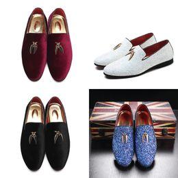 Design italian shoes online shopping - Merkmak Autumn Paillette Shoes Men Italian Design Loafers Business Dress Shoes Casual Flat Big Size Charming Man Mocasines