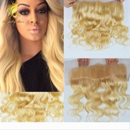 bleach products Australia - New Product swiss lace body wave blonde hair closure #613 frontal 13*4 silky soft hair peruvian human hair bleached knots