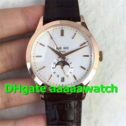 Luxury Brown Leather Watch Australia - KM Luxury Watch 5396R-011 Watch Real Working Moonphase & Calendar Miyota 9015 Automatic 324S Movement 18K Rosegold Brown Leather Men Watch