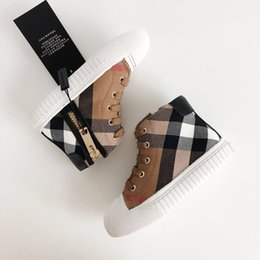 Wholesale Canvas High Shoes Australia - Kids Designer Shoes 2019 New Luxury Shoe Fashion Plaid Printed Shoes British Style High-top Trend Boys & Girls Teens Sports Shoes 5 Styles