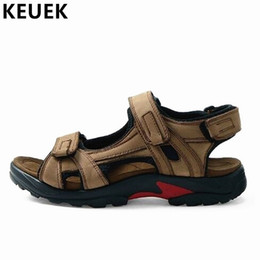 $enCountryForm.capitalKeyWord Australia - New Arrival Outdoor Sandals Genuine leather Casual Men Beach shoes Large size Hook & Loop Summer cutout hole shoes 061