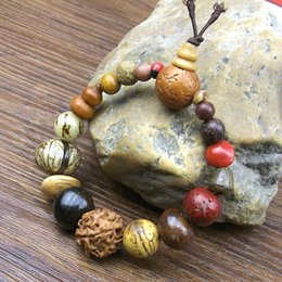 Natural Bodhi Bracelet Australia - Vintage Natural 18 Bodhi Seed Bracelet Bangles Buddha Charm Bracelet Tibet Buddhist Prayer Wood Beads