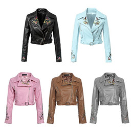 Embroidered Pu Jacket NZ - Wholetide Nice New Style Short Motorcycle Embroidered Fur Coat Ladies New Trend Zipper Decoration Lapel Jacket