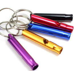 Wholesale Mini Aluminum Alloy Whistle Keyring Keychain For Outdoor Emergency Survival Safety Sport Camping Hunting Random Color ST409