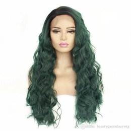 dark green wig wavy 2019 - New Trendy Fashion Ombre Lace Front Wig Long Curly Wavy Dark Roots Ombre Green Soft Fiber Hair Heat Resistant Synthetic