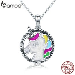 $enCountryForm.capitalKeyWord Australia - Bamoer Trendy 925 Sterling Silver Pendant Memory Colorful Enamel Necklaces For Women Silver Necklace Jewelry Gift Scn266 J190531